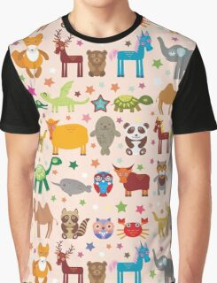 Funny cartoon animals on pink Graphic T-Shirt