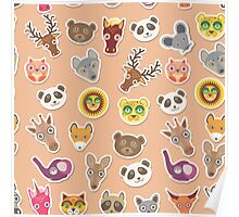Funny animals on pink-peach Poster