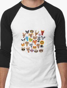 Animal faces on blue Men's Baseball ¾ T-Shirt