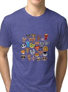 Animal faces on blue Tri-blend T-Shirt