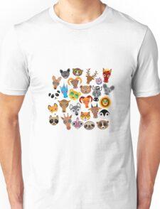 Animal faces on blue Unisex T-Shirt