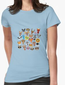 Animal faces on blue T-Shirt