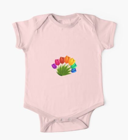 Rainbow tulips One Piece - Short Sleeve