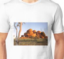 Sunset colours on the Devil's Marbles and ghost-gum Unisex T-Shirt