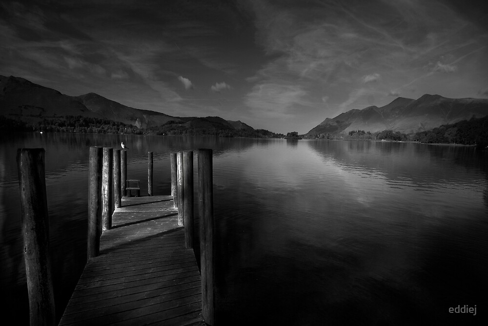 Derwent Water Black and White by eddiej