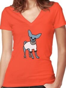 Wildago's Blue Chihuahua Women's Fitted V-Neck T-Shirt