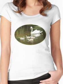 Mother swan and her little ones Women's Fitted Scoop T-Shirt