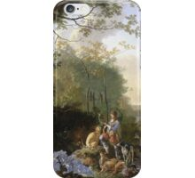 Vintage famous art - Adam Pynacker - Landscape With Sportsmen And Games 1665 iPhone Case/Skin