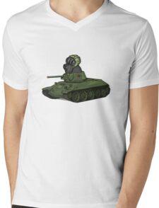 Scottish Terrier Dog Sitting in Toy Tank  Mens V-Neck T-Shirt