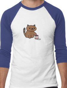 Ganache raiding the Nutella Jar (Neko Atsume) Men's Baseball ¾ T-Shirt