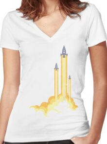Lift-off! Women's Fitted V-Neck T-Shirt