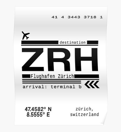 ZRH Zurich Airport Call Letters Print Poster