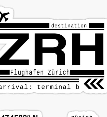 ZRH Zurich Airport Call Letters Print Sticker