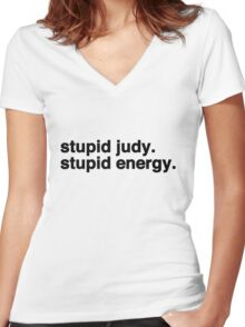 Stupid Judy Stupid Energy Women's Fitted V-Neck T-Shirt