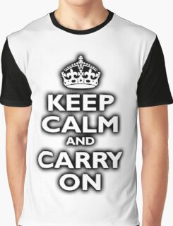 KEEP CALM, Keep Calm & Carry On, Be British! Blighty, UK, United Kingdom, white on black Graphic T-Shirt