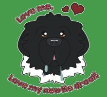 Love My Newfie Drool - Black Landseer Newfoundland Kids Tee