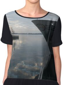 Serene Morning at the Harbor Chiffon Top