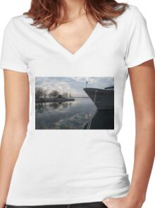 Serene Morning at the Harbor Women's Fitted V-Neck T-Shirt