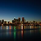 Blue Hour - Toronto's Dazzling Skyline Reflecting in Lake Ontario by Georgia Mizuleva