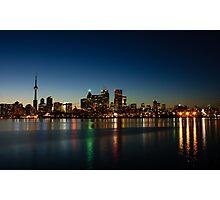 Blue Hour - Toronto's Dazzling Skyline Reflecting in Lake Ontario Photographic Print