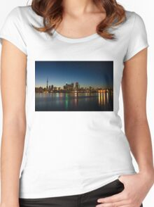 Blue Hour - Toronto's Dazzling Skyline Reflecting in Lake Ontario Women's Fitted Scoop T-Shirt
