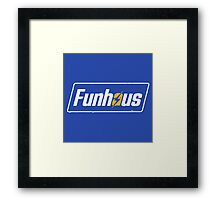 Funhous | Logo | Blue Background | High Quality! Framed Print