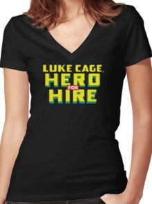 Luke Cage: Hero For Hire - Classic Title - Clean Women's Fitted V-Neck T-Shirt