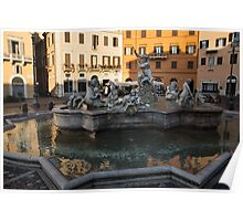 Neptune Fountain - Piazza Navona, Rome, Italy Poster