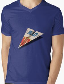 MAD Paper Airplane 147 Pattern Mens V-Neck T-Shirt