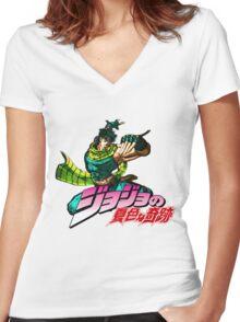Jojo's Bizarre Adventure | Joseph Joestar Women's Fitted V-Neck T-Shirt
