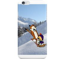 Calvin and Hobbes Sledding Down the Mountain iPhone Case/Skin