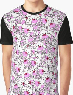 Cute Adorable Pink White Black Teddy Bear Collage Graphic T-Shirt