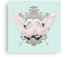 Warring Swans Canvas Print