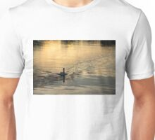 Golden Watercolor Ripples - the Gliding Swan Unisex T-Shirt