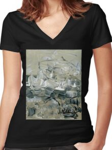 ABSTRACT 2 - Original acrylic painting on Canvas Women's Fitted V-Neck T-Shirt