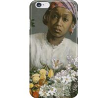 Frederic Bazille - Young Woman With Peonies iPhone Case/Skin