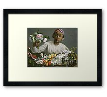 Frederic Bazille - Young Woman With Peonies Framed Print
