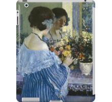 Vintage famous art - Frederick Carl Frieseke - Girl In Blue Arranging Flowers iPad Case/Skin