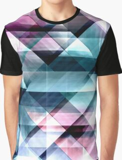 Pink Teal and Blue Abstract Geometric Pattern Graphic T-Shirt