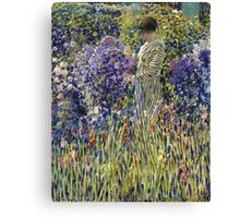 Vintage famous art - Frederick Carl Frieseke - Lady In A Garden Canvas Print