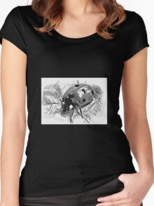 ladybird black and white Women's Fitted Scoop T-Shirt