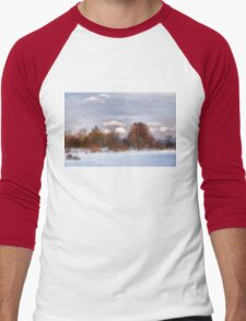 Colorful Winter Day on the Lake Men's Baseball ¾ T-Shirt