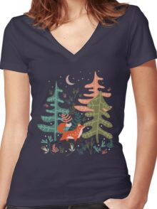 Evergreen Fox Tale Women's Fitted V-Neck T-Shirt