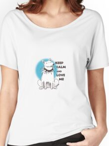 cartoon style illustration keep calm and love me cute white dog Women's Relaxed Fit T-Shirt