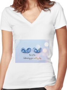 Male Wedding Women's Fitted V-Neck T-Shirt