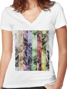 Marble Fence Women's Fitted V-Neck T-Shirt