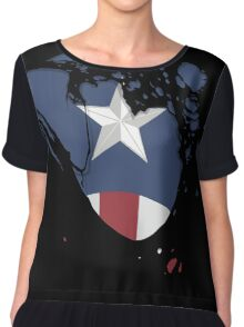 Ripped Star Spangled  Chiffon Top