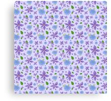 Hand Painted Blue And Purple Flowers Background Canvas Print
