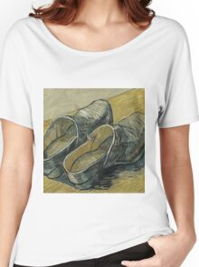 Vincent Van Gogh  - A pair of leather clogs, 1888. Famous Paintings. Impressionism. Women's Relaxed Fit T-Shirt