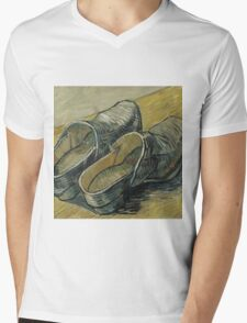Vincent Van Gogh  - A pair of leather clogs, 1888. Famous Paintings. Impressionism. Mens V-Neck T-Shirt